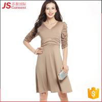 JS 20 Hot Fold Deep V Collar Pictures Slim Office Dress For Woman Ladies 724