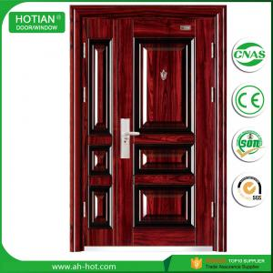 Quality House Entry Main Front Door Metal Flush Steel Security Door Design  With Galvanized Handle For