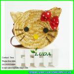 China LUDA 2016 fashion cute girls wheat straw hello kitty beach handbag wholesale