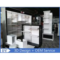 Customized men clothes shop wooden metal clothes rack with shelves