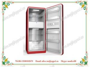 China OP-910 CE Approved Folding Solid Door Manual Defrost Upright Refrigerator on sale