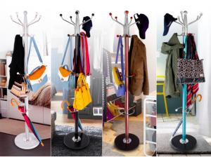 China Colorful Clothes Hanger Stand , Umbrella Bag Hat And Coat Stand With Marble Base on sale