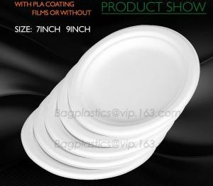 China cheap price circular paper platsa with PLA film, Party restaurant catering PLA film disposable food plate on sale