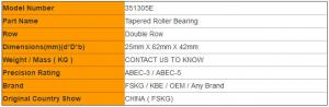 Quality Double Row 351305E 351305 Tapered Roller Bearings P6 P5 P4 Bearing Catalogue for sale