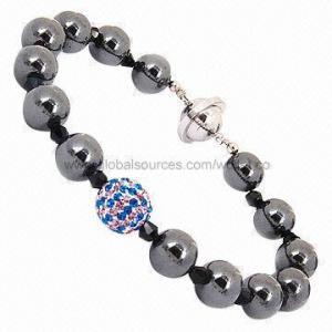 China o hematita de 7,5 a 8,5 polegadas perlou o bracelete, usado para meninas on sale