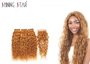 China 3 Bundles Virgin Water Wave Hair Extensions With Closure Blonde Color 27 on sale