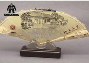 China Summer  Plated Metal Hand Fan   Bamboo Printing   Business Promotion  Supply on sale
