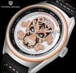 PAGANI DESIGN Full automatic mechanical watch Skull Dial Calendar Display Waterproof Leather Watch  PD-1630
