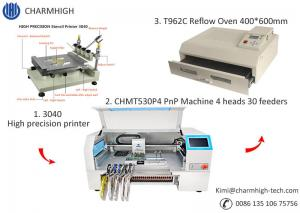 China CHMT530P4 SMT Production Line With Pnp Machine Solder Paste Printer T962A Reflow Oven on sale
