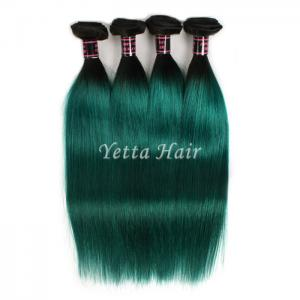 China Dark Roots Green Ombre Human Hair Extensions /  Brazilian Hair Weave on sale
