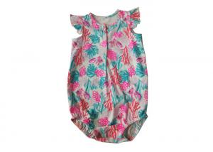 China Floral Print Kids Top Organic Knitwear Underwear 100% cotton 120g/M2 on sale