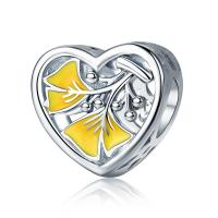 China Yellow Ginkgo Tree Leave Sterling Silver Pendants , Heart Beads  Necklace Pendant Charms on sale