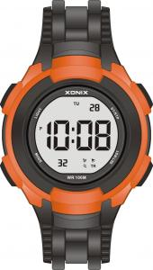 China Black Orange Sports Silicone Digital Watch For Men , 100M Water Resistant on sale