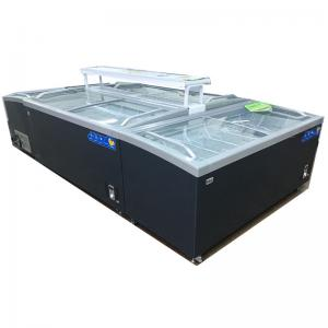 China Curved Glass Island Seafood Meat Display Freezer on sale