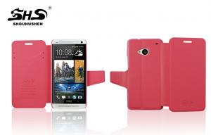 China Protective Leather HTC Phone Cases HTC One M7 PU Cover With Card Slot on sale