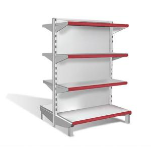 China Metal Gondola Supermarket Display Racks , Grocery Store Shelving Double Sided on sale