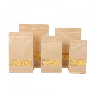 China 100% recycled kraft paper k bags with clear window/coffee bean flower seeds packaging pouch on sale