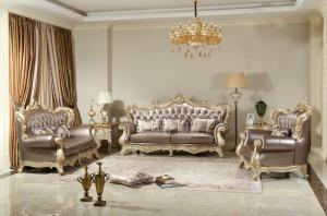 China French style Luxury design of Living room Sofa sets 1+2+3  used Beech wood Carving and Import Italy Leather Furniture on sale