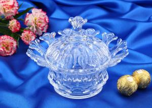 China Wedding Gift Glass Candy Bowl With Lid / Glass Storage Jar For Nut on sale