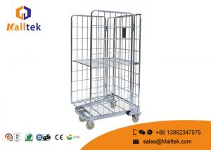 China 4 Side Cargo Steel Wire Mesh Container Roll Cage Trolley For Storage Use on sale
