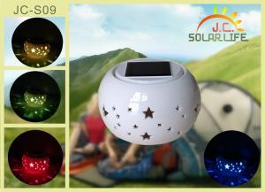 China Mudança de acampamento solar oca cerâmica transparente decorativa da cor de luzes das lanternas on sale