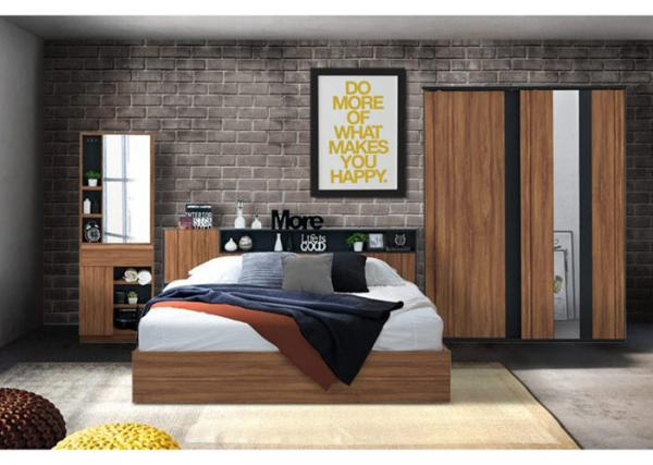 Wulnut Wood Grain Melamine Brown Bedroom Furniture Large Storage