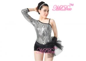 3d9d68e81 ... Quality Beautiful Sequins Jazz Tap Costumes Diagonal - Neck Biketard  Dance Costume for sale