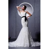 China Spaghetti Strap Ruffle Romantic Lace Wedding Gowns with Beads , Mermaid Style on sale