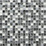 黒く白い一流のクリスタル グラスの組合せの金属のモザイク・タイル無声様式