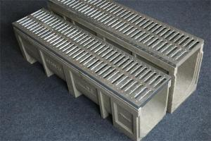 U shape linear drainage trench/ditch system with grills
