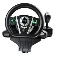 Black / White Vibration Driving Game Steering Wheel For PC / X-Input / P2 / P3