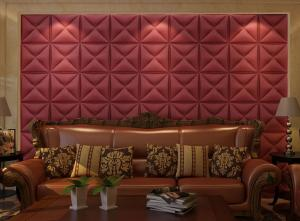 China PVC Tiles 3D  wall tiles interior fire resistant leather decoration wall panel YHT wall decor on sale