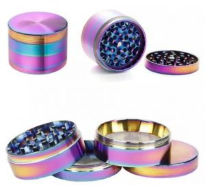 China Beautiful 50mm Rainbow Grinders 4 Piece Grinder Zinc Alloy Material Top Quality Tobacco Herb Spice Crusher Fast Shipping on sale