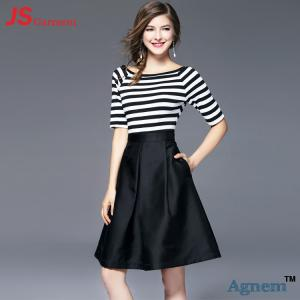 Quality Short Sleeve Office Work Clothes Knee Length Striped Stitching Dresses Type for sale