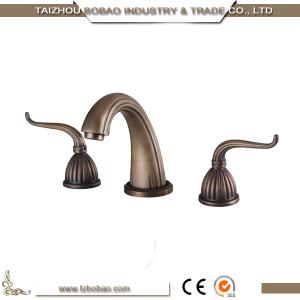 China Top Quality 3 way Dual Handle antique brass sink faucet basin tap on sale