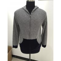 China Autumn / Winter Men Knit Sweater Hooded Long Sleeve 12gg Guage Size 330g Weight on sale