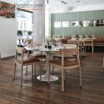 Customized Modern Restaurant Wooden Dining Room Chairs with back / Brown Fabric Seat
