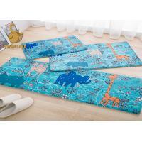 Blue Indoor Area Rugs , White Flower Pattern Plastic Floor Carpet