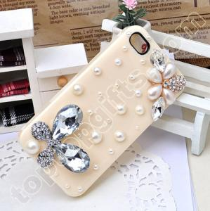 China butterfly iphone hard case cover with pearls on sale