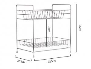 China Double Tier Kitchen Dish Drying Shelf With Cutlery Holder And Chopstick Holder on sale