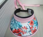 cotton print fabric girls adjustable  sun visor with big and light evc peak