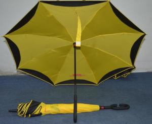 China Lightweight Yellow Vented Golf Umbrella Fibreglass Frame Plastic Cap / Tips on sale