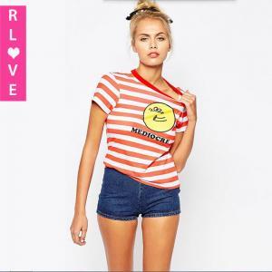 China 2015 new winter sweet cartoon logo printing wild Slim stripes female T-shirt on sale