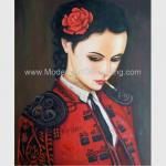 Human Figure Painting Oil Painting Canvas / Smoking Woman In Red Painting