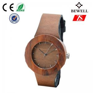 China Water Resistant Red Sandal Wooden Watch With Leather Band OEM on sale