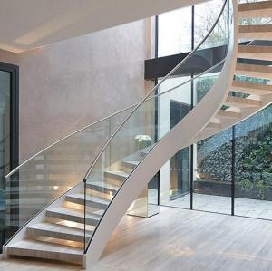 Quality Antique Curved Stairs Prefabricated Wooden Glass Staircase For Sale  ...