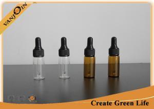 China High Flint 12ml Amber Empty Small Glass Vials With Dropper Lids , Mini Glass Dropper Bottles on sale