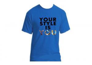 China Anti Wrinkle Blue Cotton Kids T Shirts Digital Printing OEM Service on sale