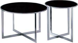 Quality Contemporary Black Glass Coffee Table With Stainless Steel Frame , End table black color for sale