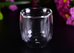 China Popular 3 Oz Heat Resistant Double Wall Borosilicate Glass Drinkingware Hand Blown on sale